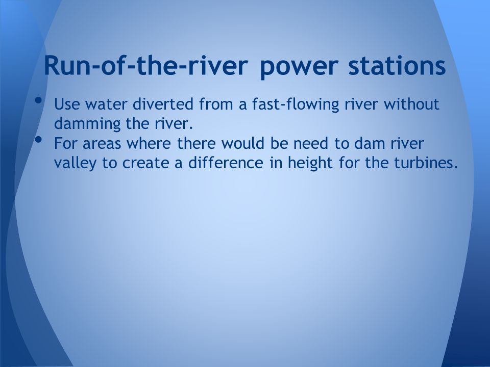 Run-of-the-river power stations