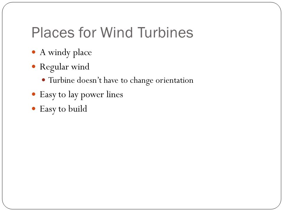 Places for Wind Turbines