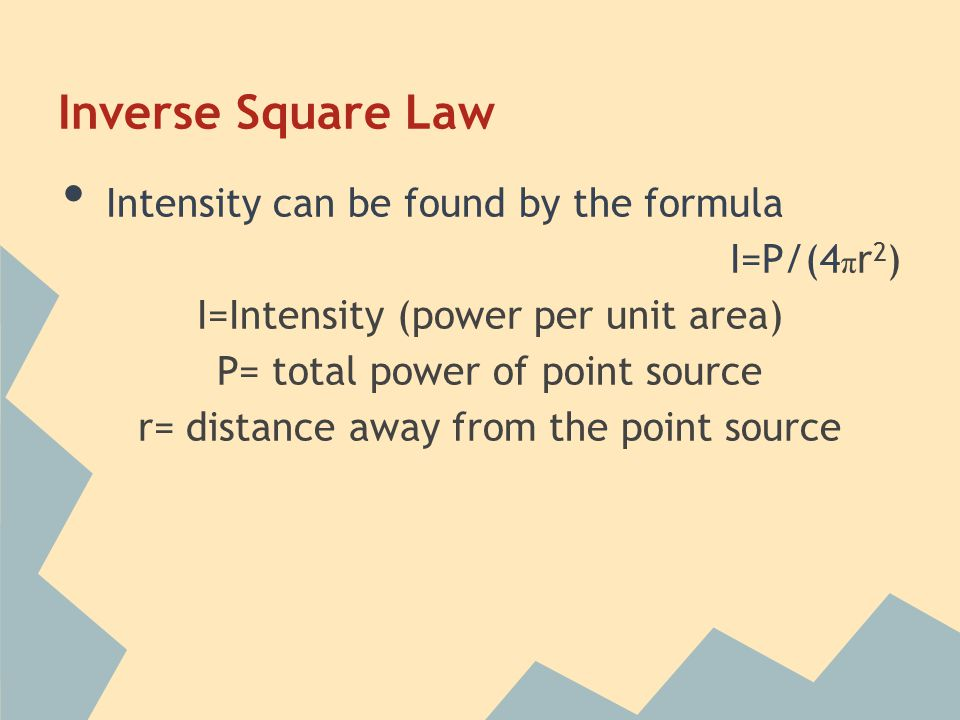 Inverse Square Law Intensity can be found by the formula I=P/(4πr2)