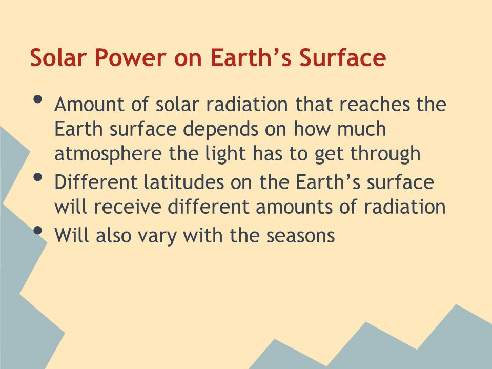 Solar Power on Earth's Surface