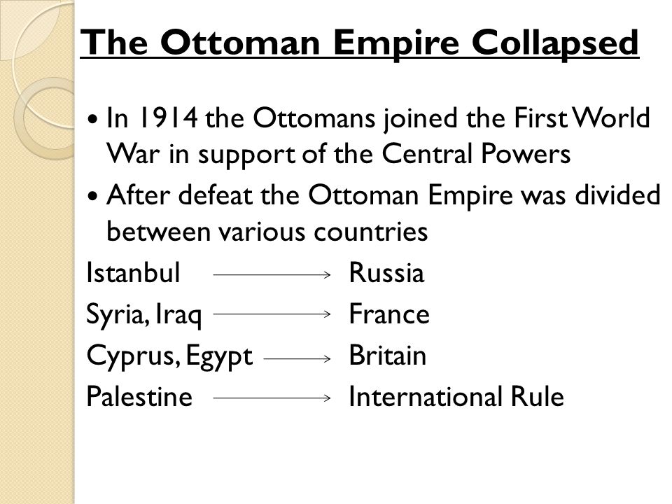 The Ottoman Empire Collapsed