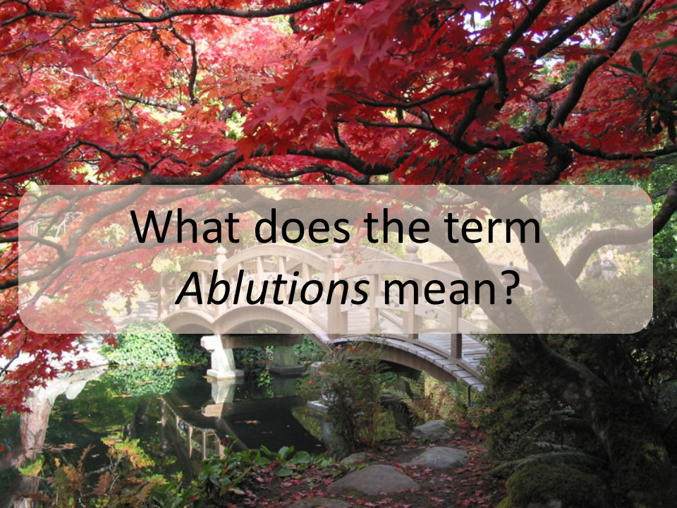 What does the term Ablutions mean