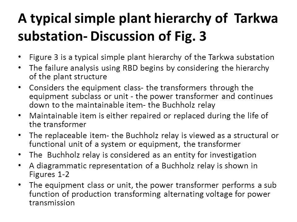 A typical simple plant hierarchy of Tarkwa substation- Discussion of Fig. 3