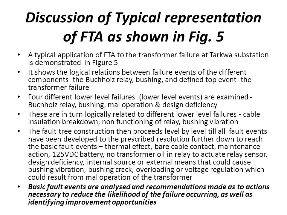 Discussion of Typical representation of FTA as shown in Fig. 5