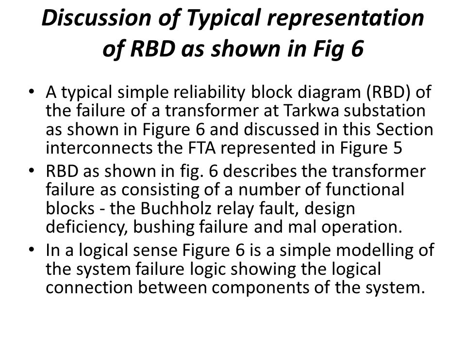 Discussion of Typical representation of RBD as shown in Fig 6