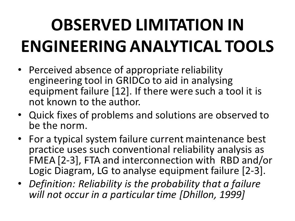 OBSERVED LIMITATION IN ENGINEERING ANALYTICAL TOOLS