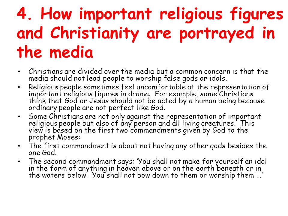 4. How important religious figures and Christianity are portrayed in the media