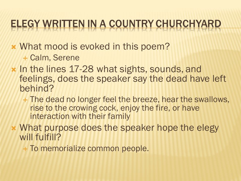 Elegy Written in a Country Churchyard