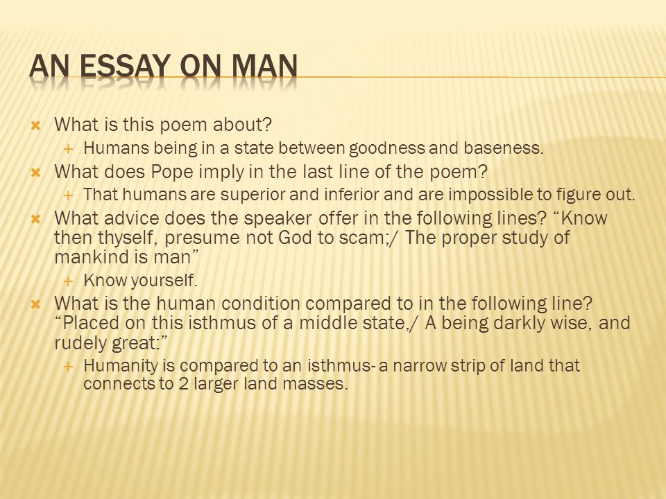 An Essay on Man What is this poem about