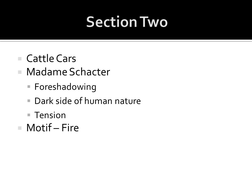 Section Two Cattle Cars Madame Schacter Motif – Fire Foreshadowing