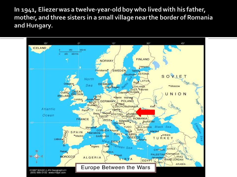 In 1941, Eliezer was a twelve-year-old boy who lived with his father, mother, and three sisters in a small village near the border of Romania and Hungary.