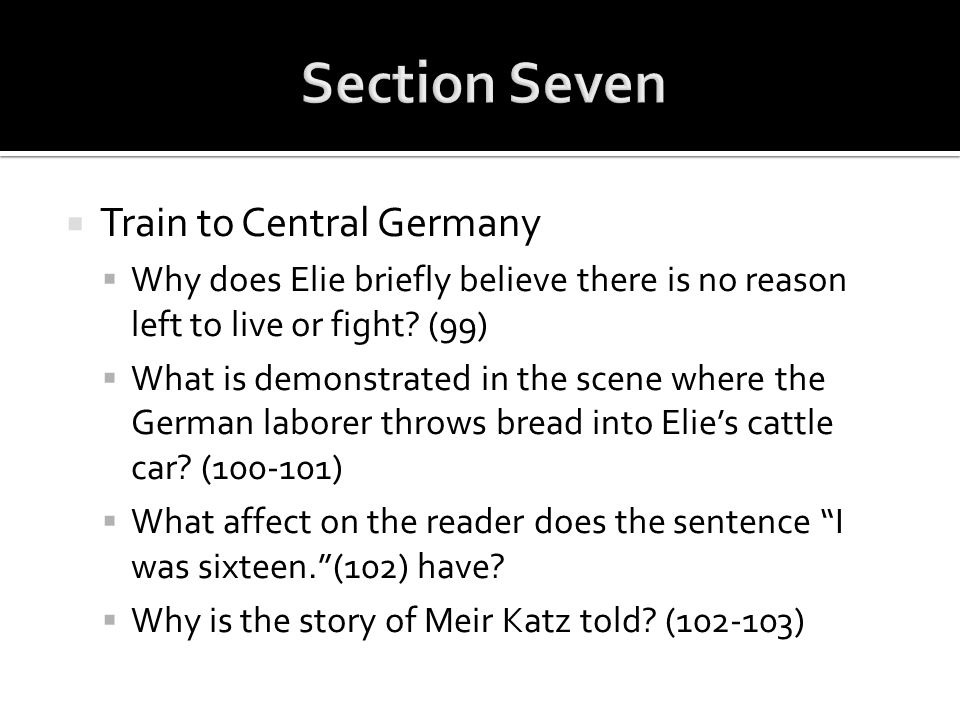Section Seven Train to Central Germany