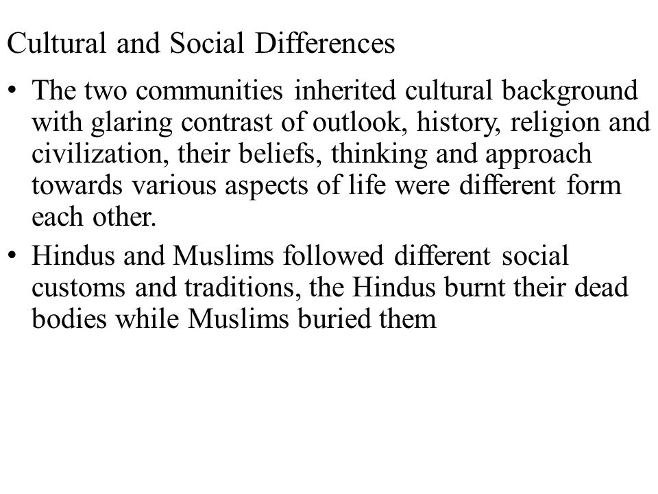 Cultural and Social Differences