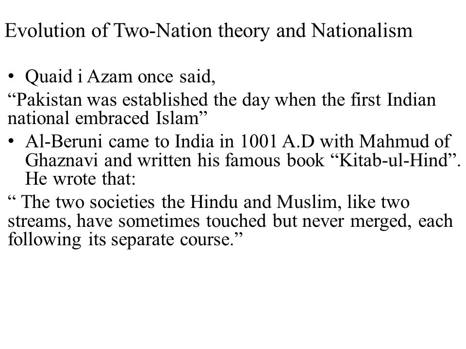 Evolution of Two-Nation theory and Nationalism