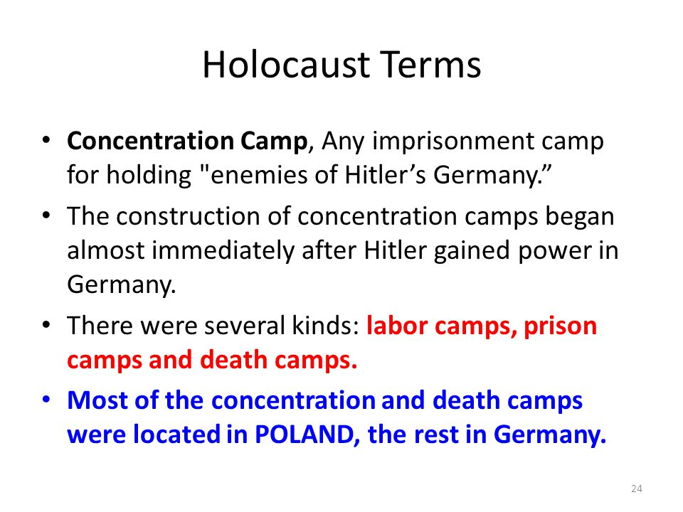 Holocaust Terms Concentration Camp, Any imprisonment camp for holding enemies of Hitler's Germany.