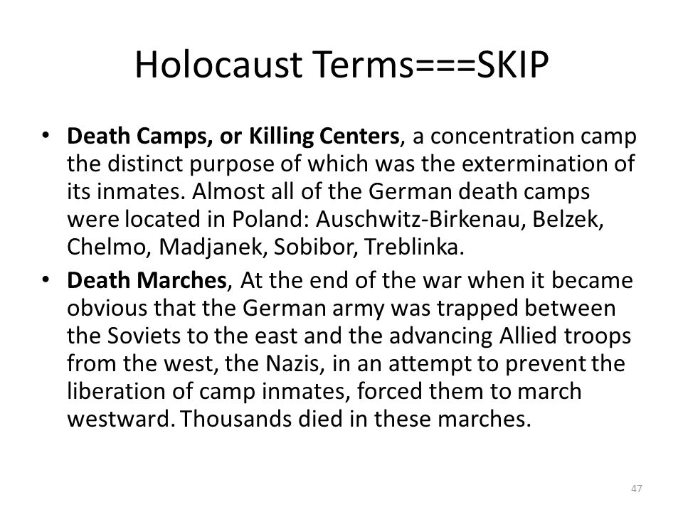 Holocaust Terms===SKIP