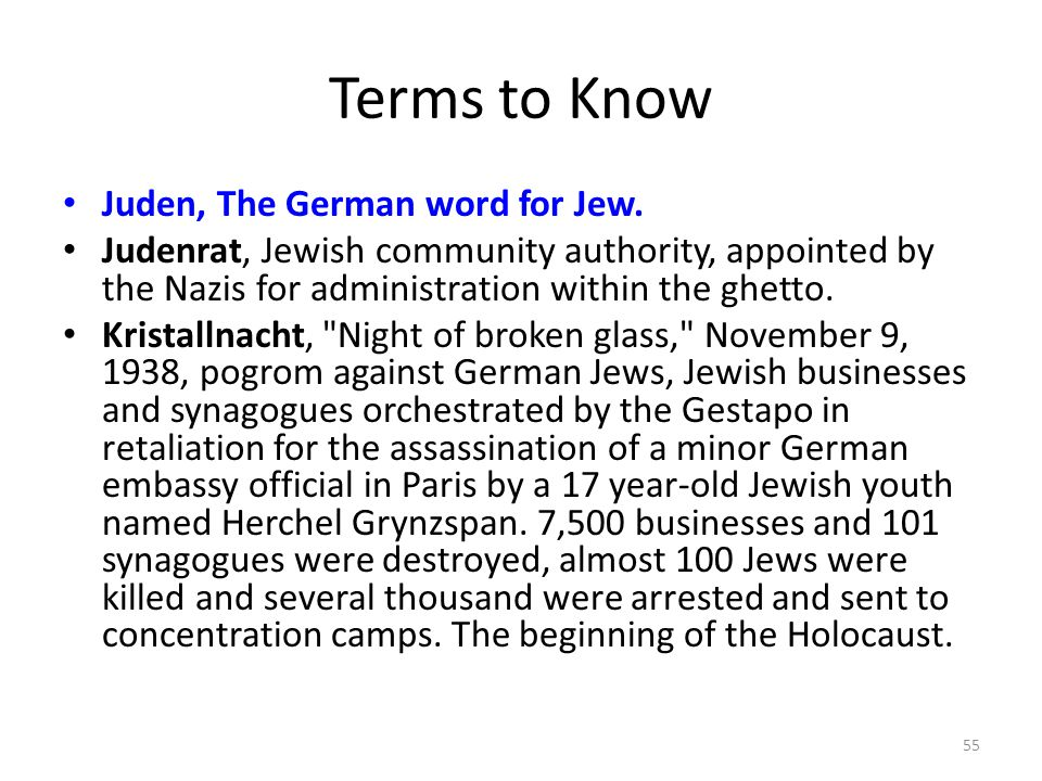 Terms to Know Juden, The German word for Jew.