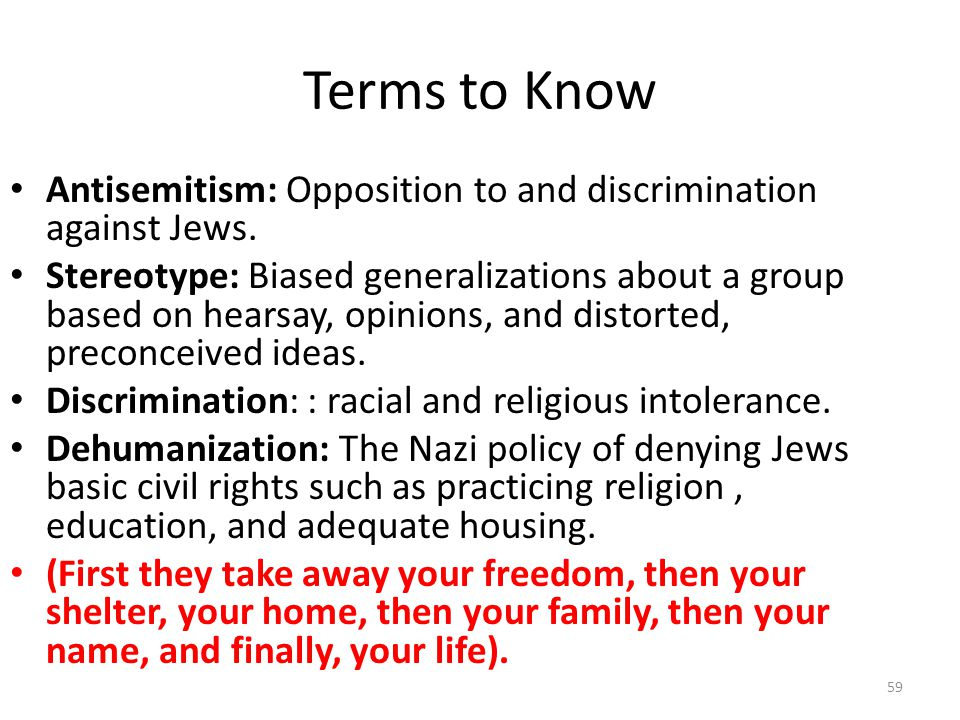 Terms to Know Antisemitism: Opposition to and discrimination against Jews.
