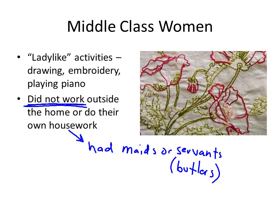 Middle Class Women Ladylike activities – drawing, embroidery, playing piano.
