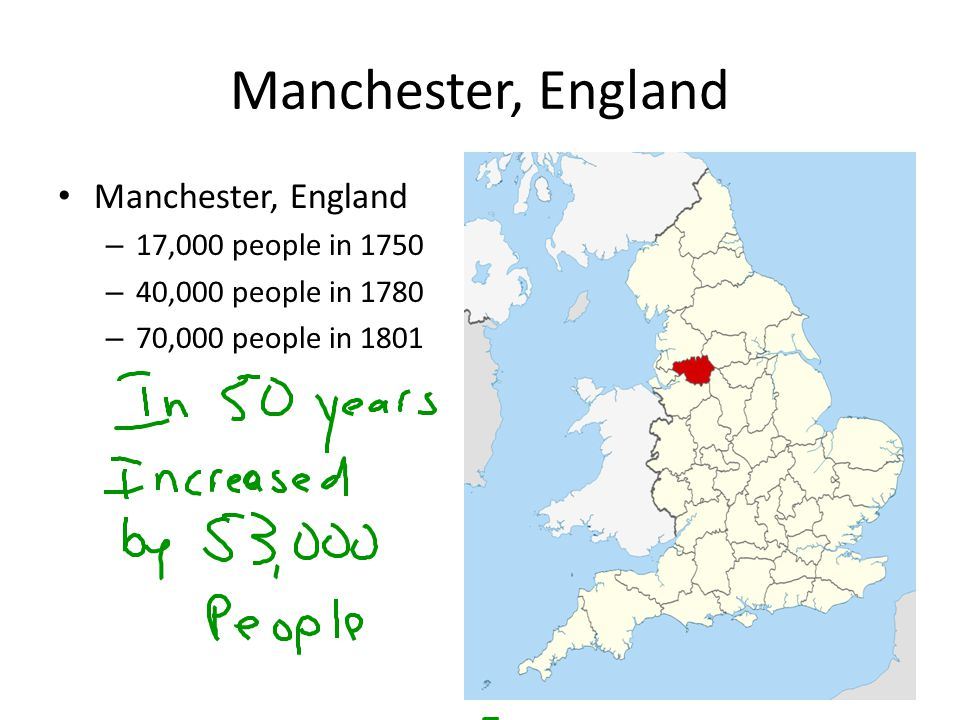 Manchester, England Manchester, England 17,000 people in 1750