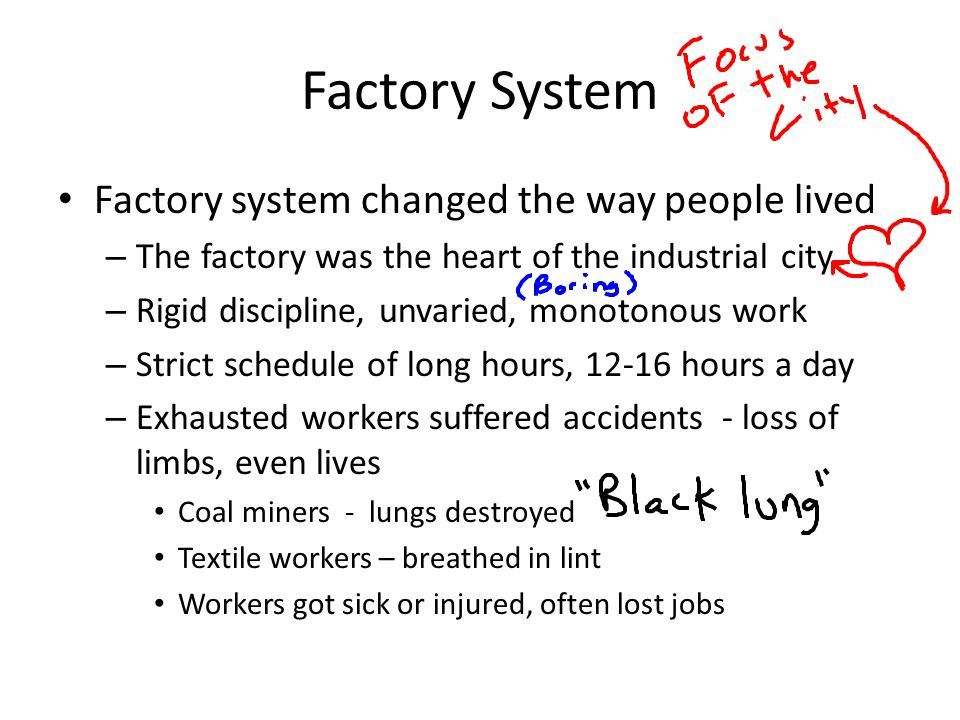 Factory System Factory system changed the way people lived