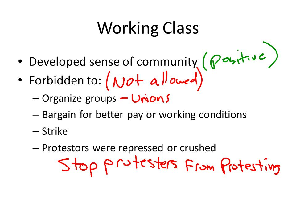 Working Class Developed sense of community Forbidden to: