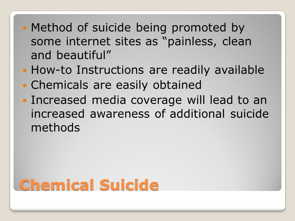 Method of suicide being promoted by some internet sites as painless, clean and beautiful