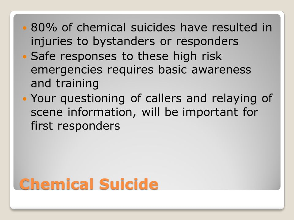 80% of chemical suicides have resulted in injuries to bystanders or responders