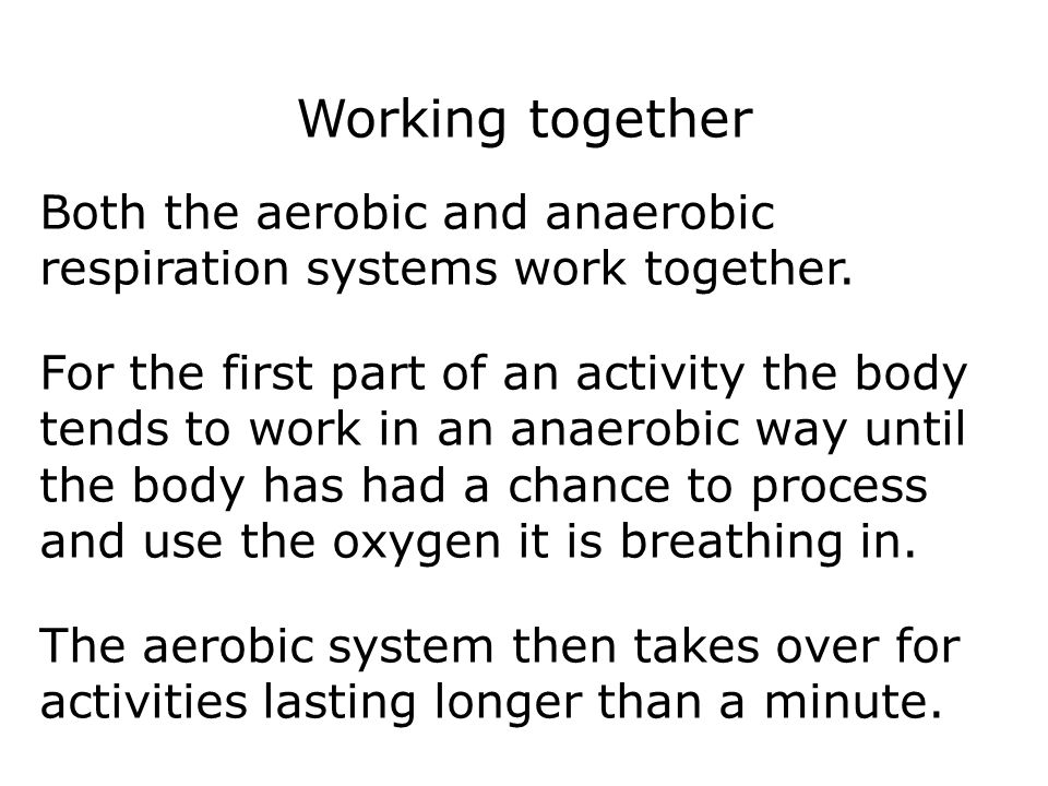 Respiration 15 Working together. Both the aerobic and anaerobic respiration systems work together.