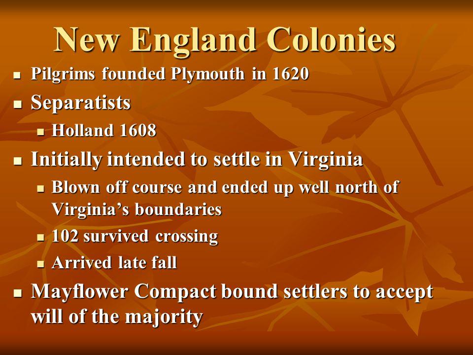 New England Colonies Separatists