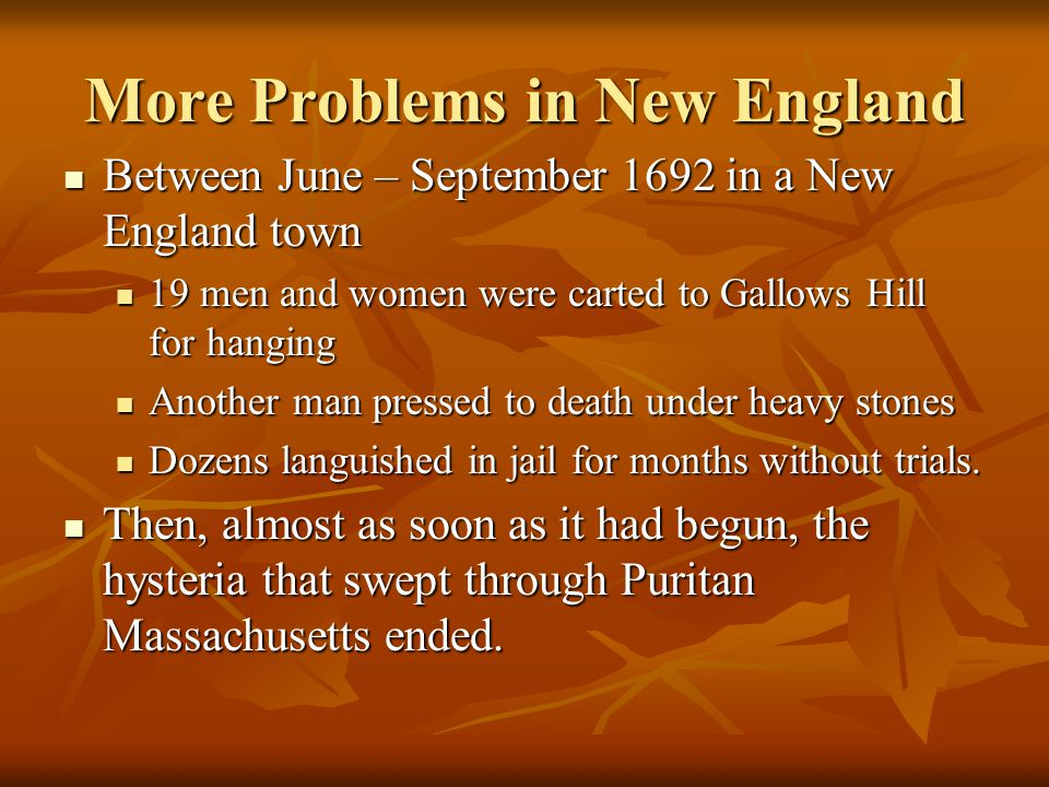 More Problems in New England
