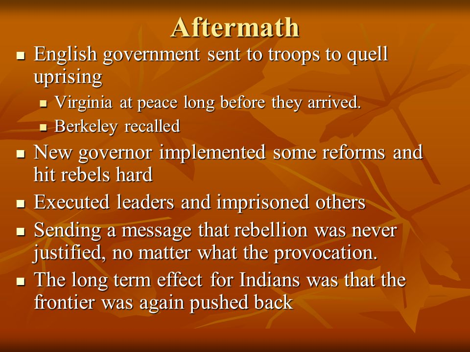Aftermath English government sent to troops to quell uprising