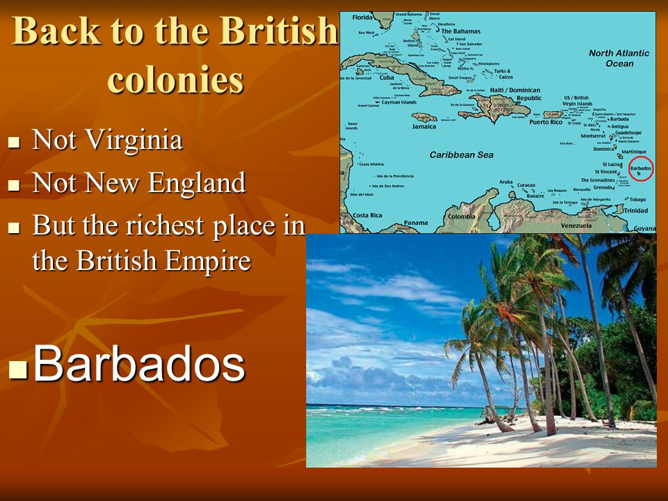 Back to the British colonies