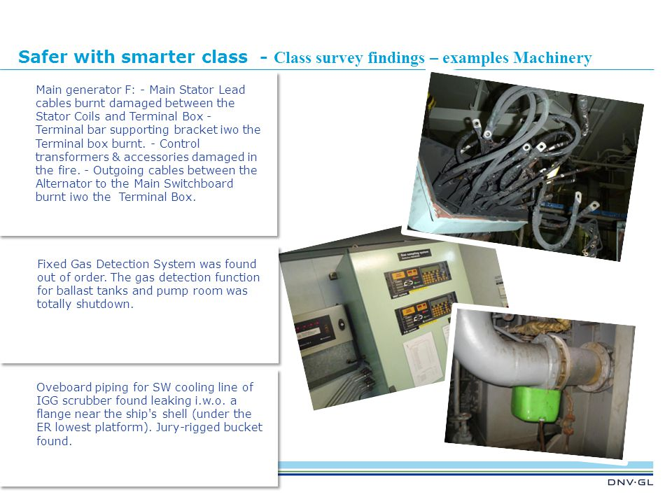Safer with smarter class - Class survey findings – examples Machinery