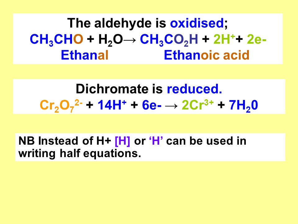 The aldehyde is oxidised; CH3CHO + H2O→ CH3CO2H + 2H++ 2e-