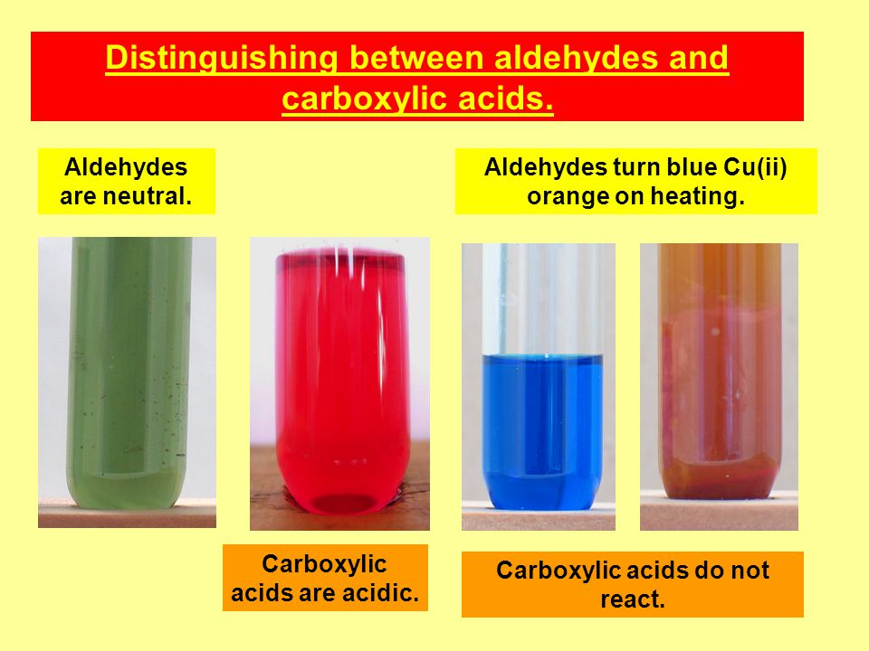 Distinguishing between aldehydes and carboxylic acids.