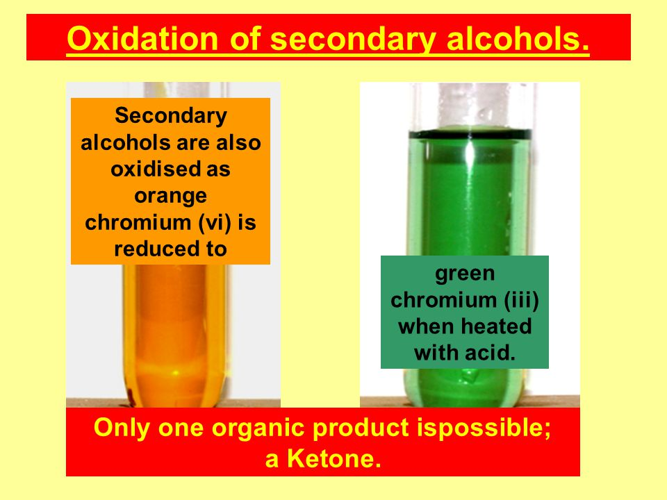 Oxidation of secondary alcohols.