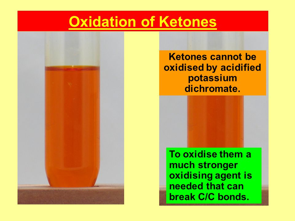 Ketones cannot be oxidised by acidified potassium dichromate.