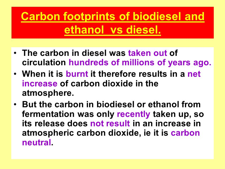 Carbon footprints of biodiesel and ethanol vs diesel.