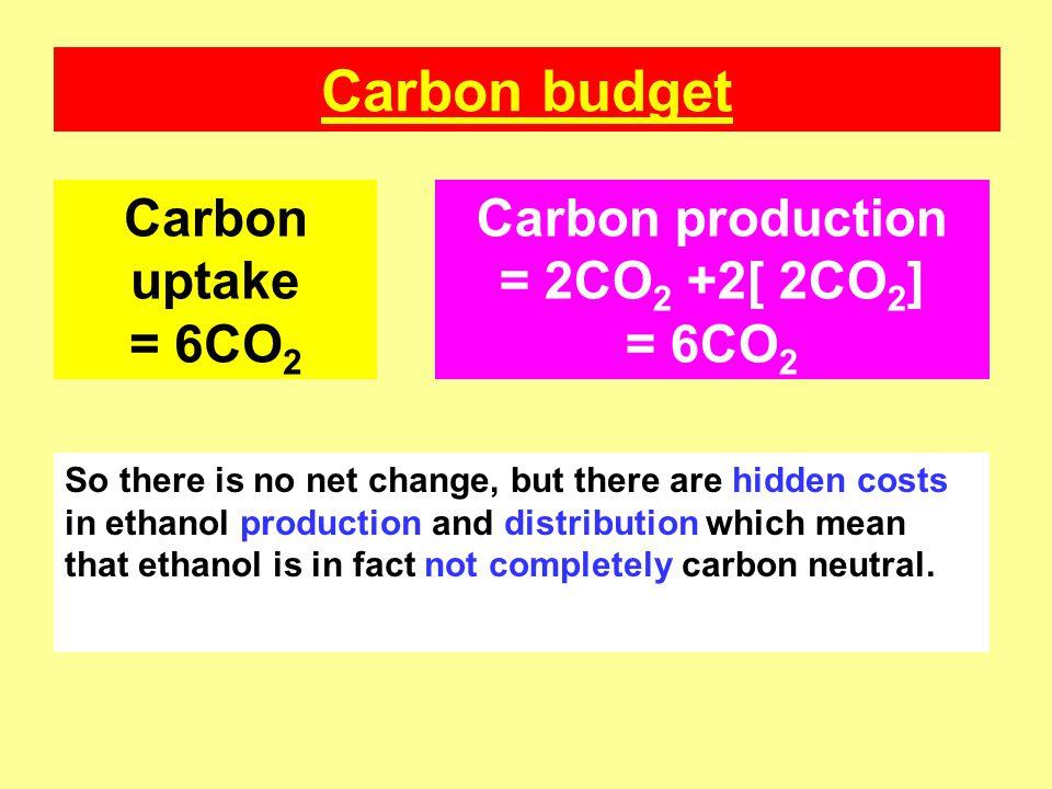 Carbon budget Carbon uptake = 6CO2 Carbon production