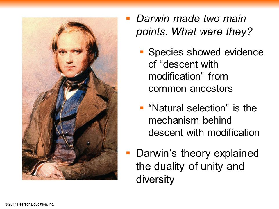 Darwin made two main points. What were they