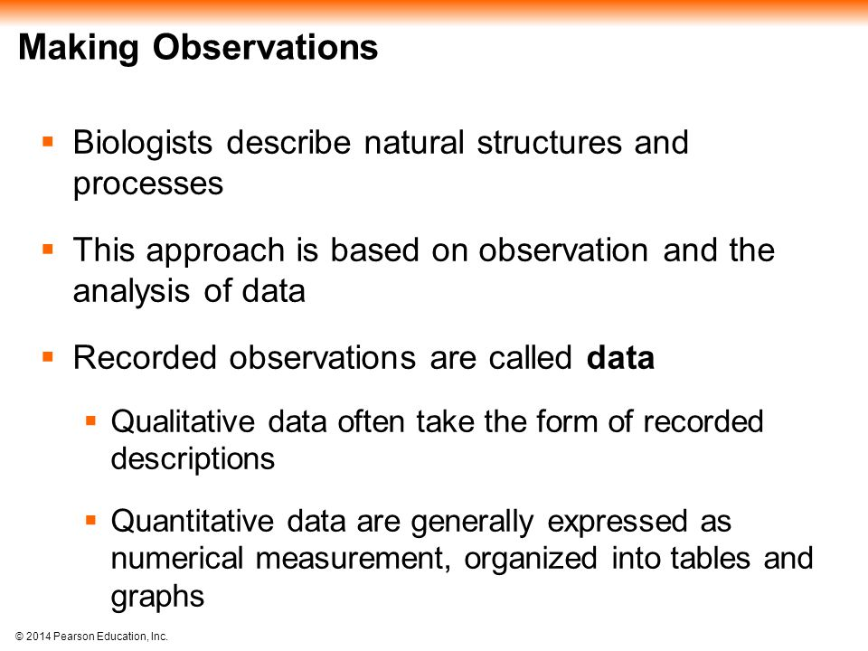 Making Observations Biologists describe natural structures and processes. This approach is based on observation and the analysis of data.