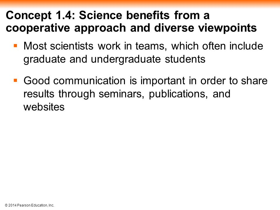 Concept 1.4: Science benefits from a cooperative approach and diverse viewpoints