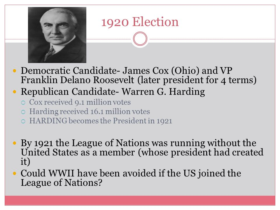 1920 Election Democratic Candidate- James Cox (Ohio) and VP Franklin Delano Roosevelt (later president for 4 terms)