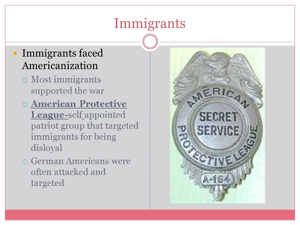 Immigrants Immigrants faced Americanization