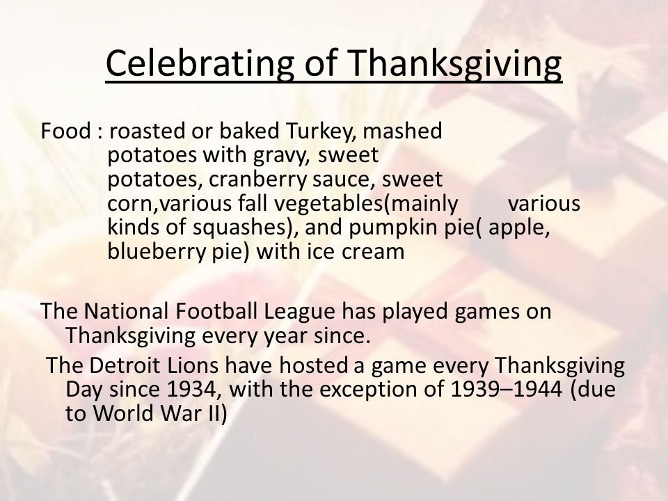Celebrating of Thanksgiving
