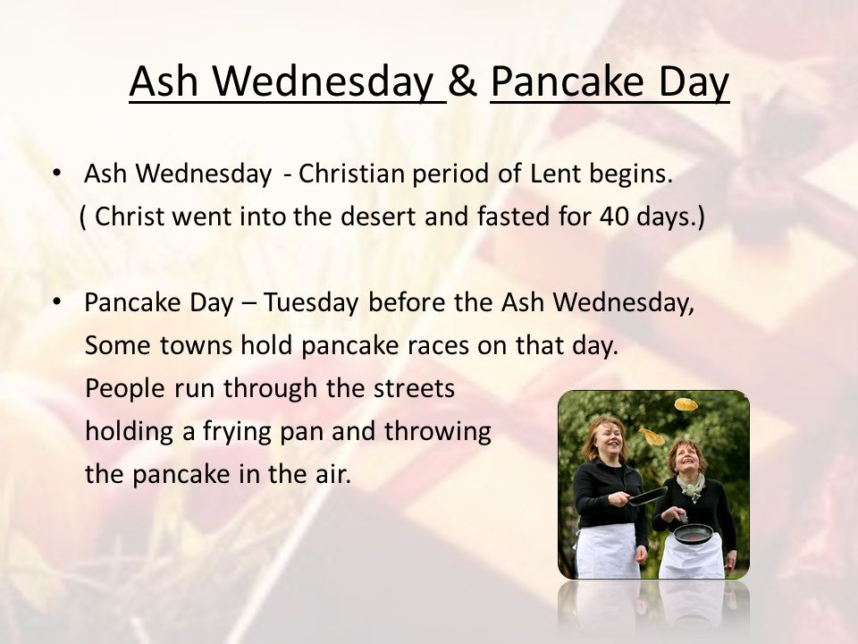 Ash Wednesday & Pancake Day