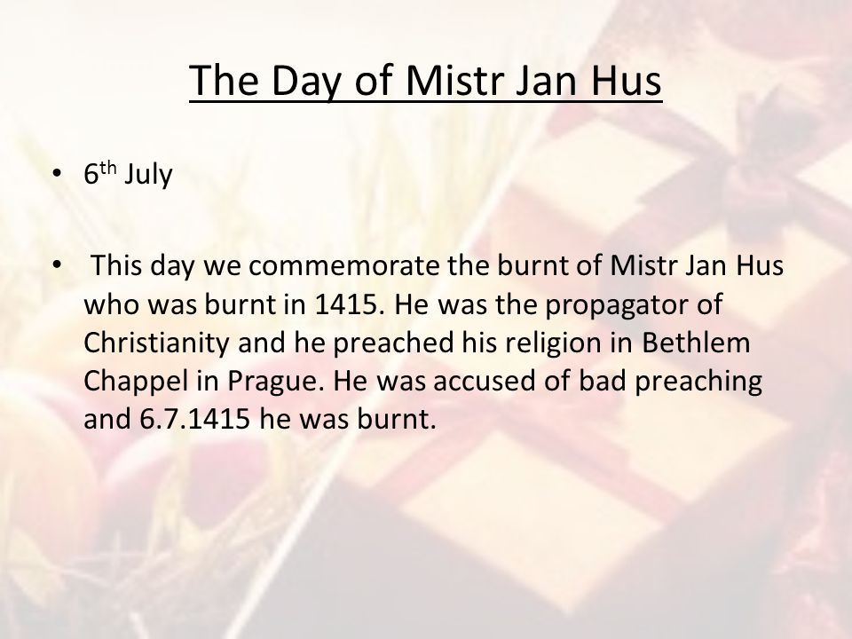 The Day of Mistr Jan Hus 6th July