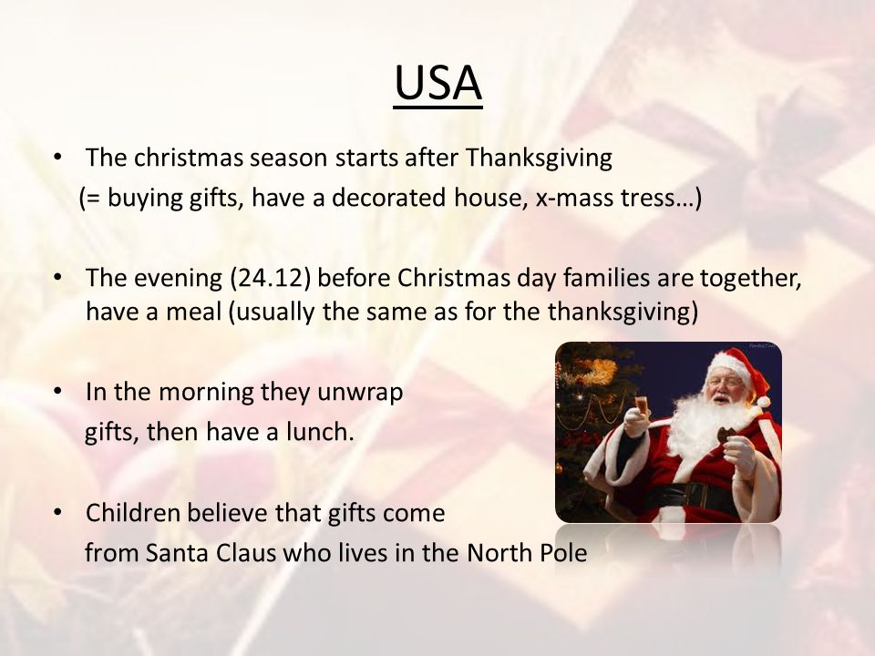 USA The christmas season starts after Thanksgiving