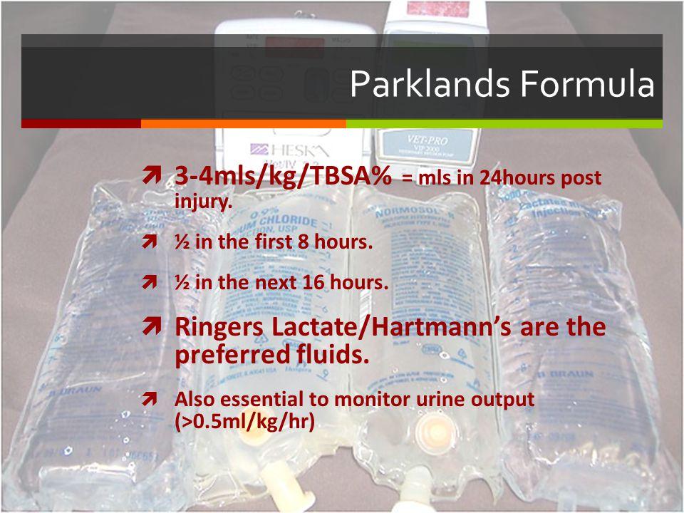 Parklands Formula 3-4mls/kg/TBSA% = mls in 24hours post injury.